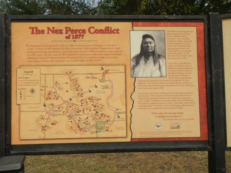 The Nez Perce Conflict of 1877 Marker, panel 1 image. Click for full size.