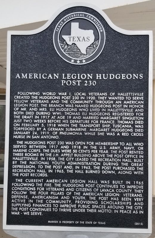 American Legion Hudgeons Post 230 Marker image. Click for full size.