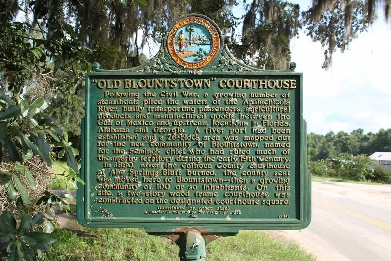"""Old Blountstown"" Courthouse Marker Side 1 image. Click for full size."