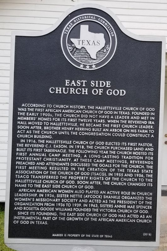 East Side Church of God Marker image. Click for full size.