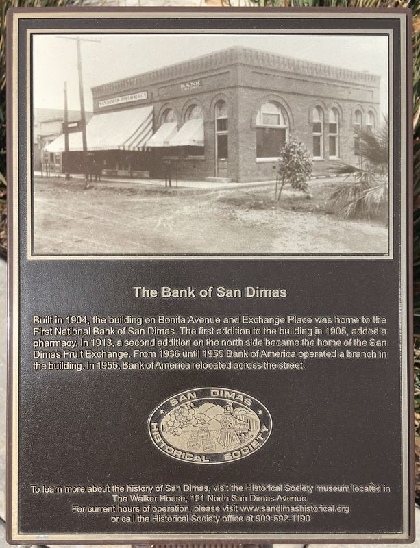 Bank of San Dimas Marker image. Click for full size.