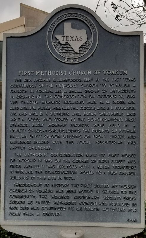 First Methodist Church of Yoakum Marker image. Click for full size.