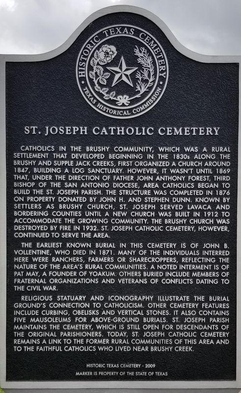 St. Joseph Catholic Cemetery Marker image. Click for full size.