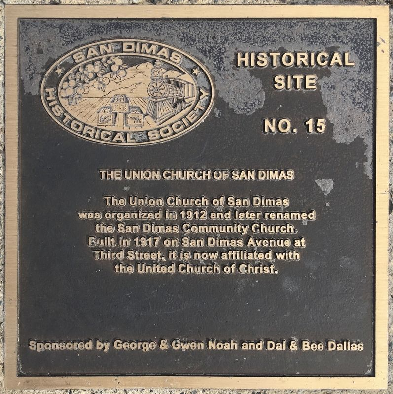 Union Church of San Dimas Marker image. Click for full size.
