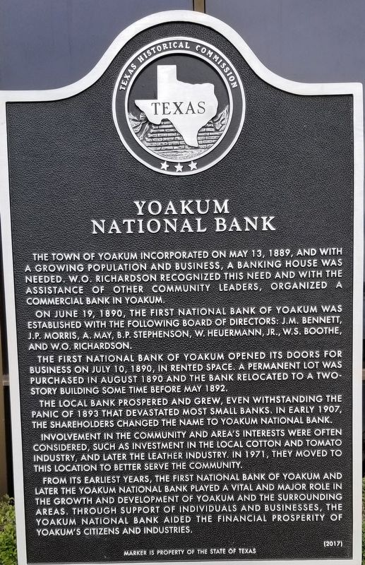 Yoakum National Bank Marker image. Click for full size.