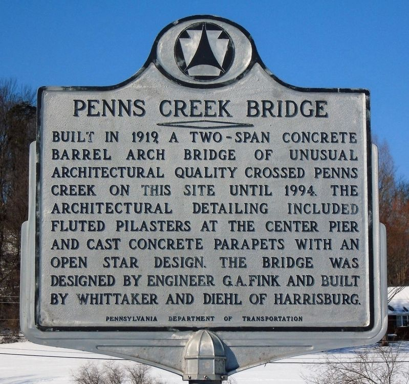 Penns Creek Bridge Marker image. Click for full size.