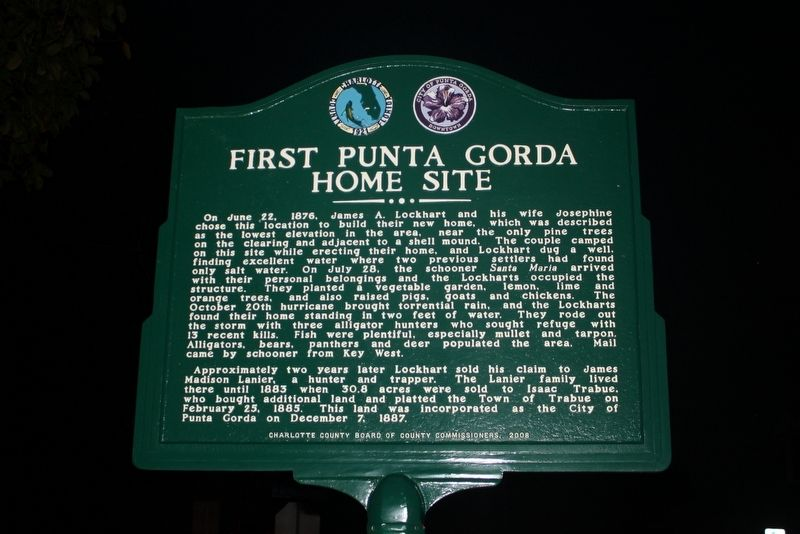 First Punta Gorda Home Site Marker image. Click for full size.