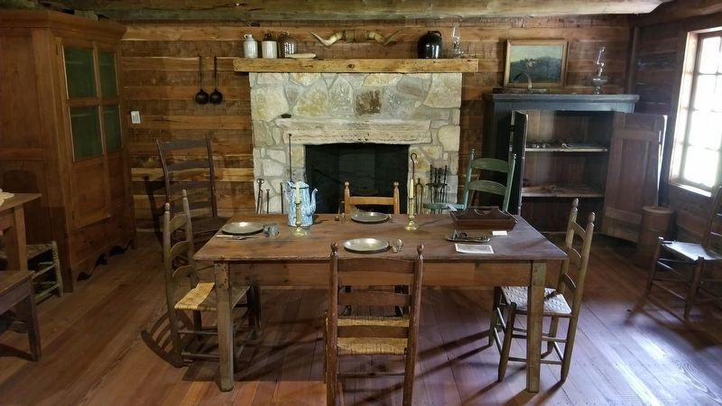 The dining room of the Turner-Peters Log Cabin image. Click for full size.