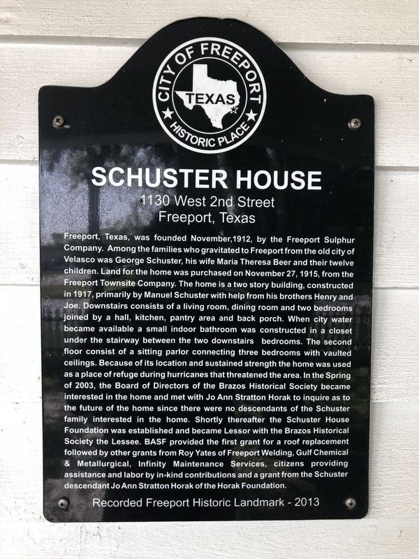 Schuster House Marker image. Click for full size.