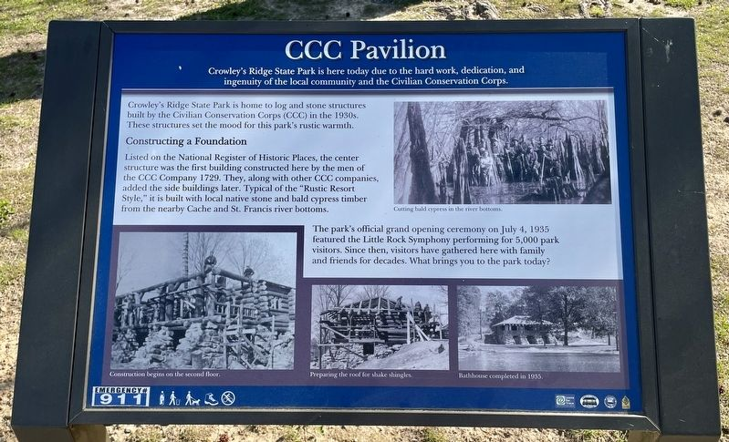 CCC Pavilion Marker at Crowley's Ridge State Park. image. Click for full size.