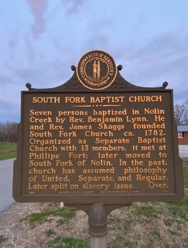 South Fork Baptist Church side of the marker image. Click for full size.
