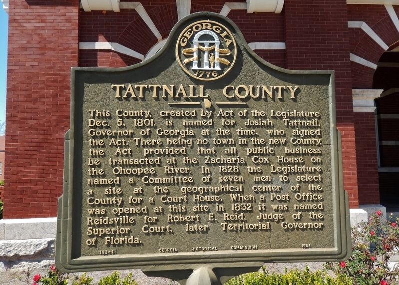 Tattnall County Marker image. Click for full size.