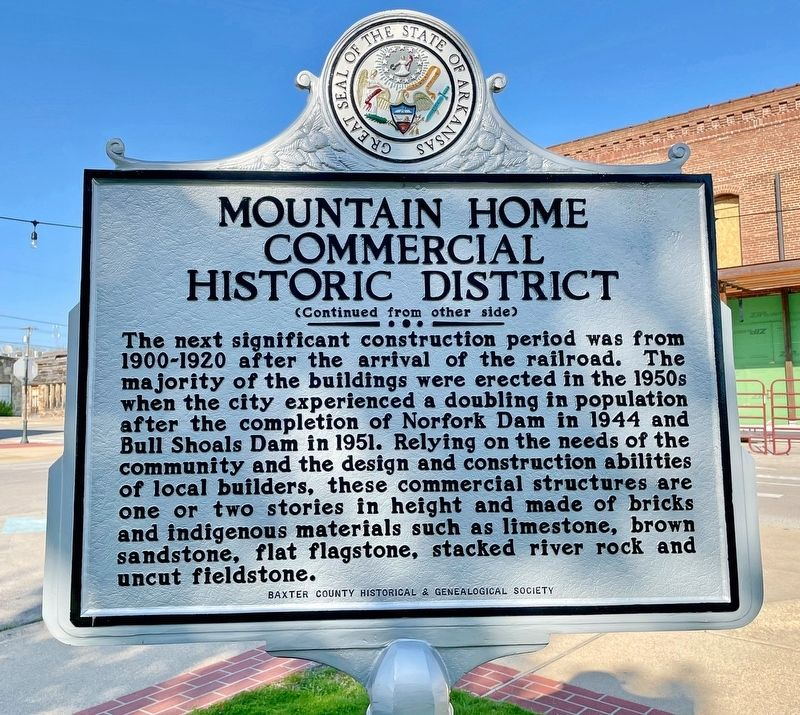 Mountain Home Commercial Historic District Marker (reverse) image. Click for full size.