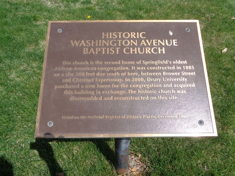 Historic Washington Avenue Baptist Church Marker image. Click for full size.