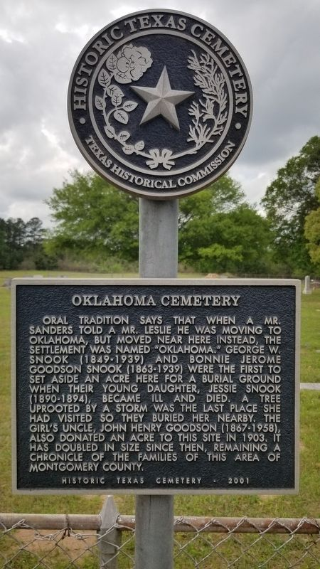 Oklahoma Cemetery Marker image. Click for full size.
