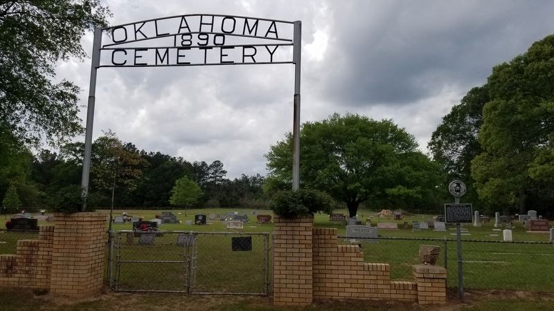 The Oklahoma Cemetery frontgate and Marker image. Click for full size.