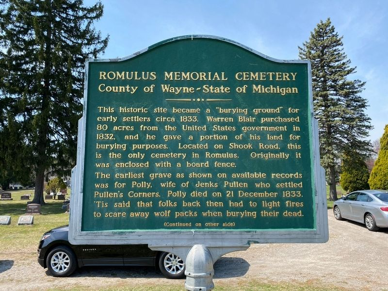 Romulus Memorial Cemetery County of Wayne-State of Michigan Marker image. Click for full size.