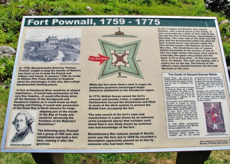 Fort Pownall, 1759-1775 Marker image. Click for full size.