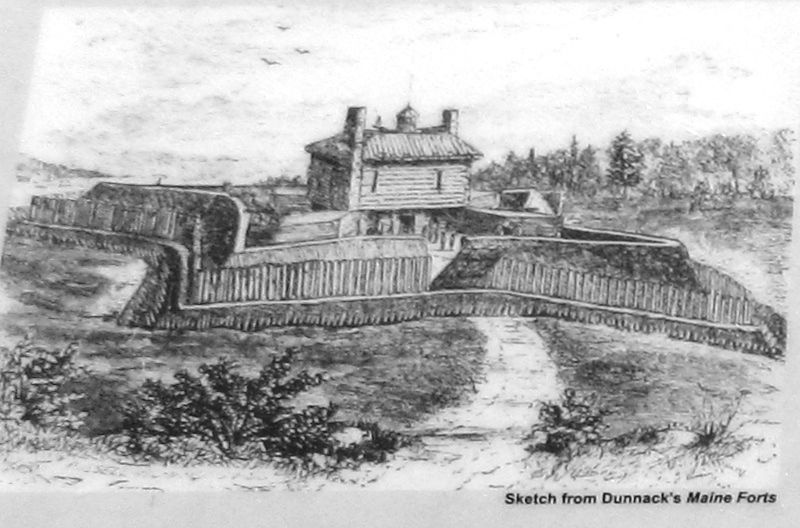 Marker detail: Fort Pownall image. Click for full size.