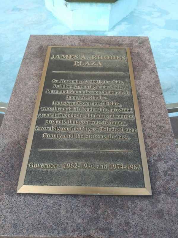 James A. Rhodes Plaza Marker image. Click for full size.