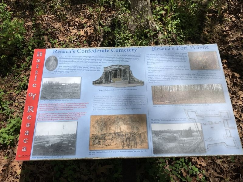 Resaca's Confederate Cemetery / Resaca's Fort Wayne Marker image. Click for full size.