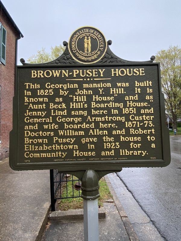 Brown-Pusey House Marker image. Click for full size.