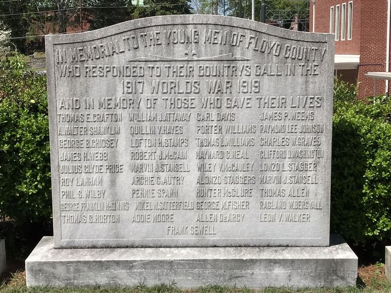 Floyd County World War I Memorial image. Click for full size.