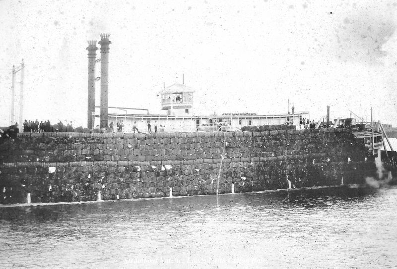 Marker detail: Steamboat Natchez Loaded with Cotton Bales; 1897 image. Click for full size.