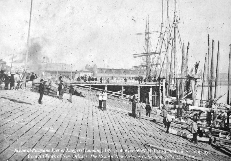 Marker detail: Scene at Picayune Pier or Lugers' Landing; 1895 image. Click for full size.