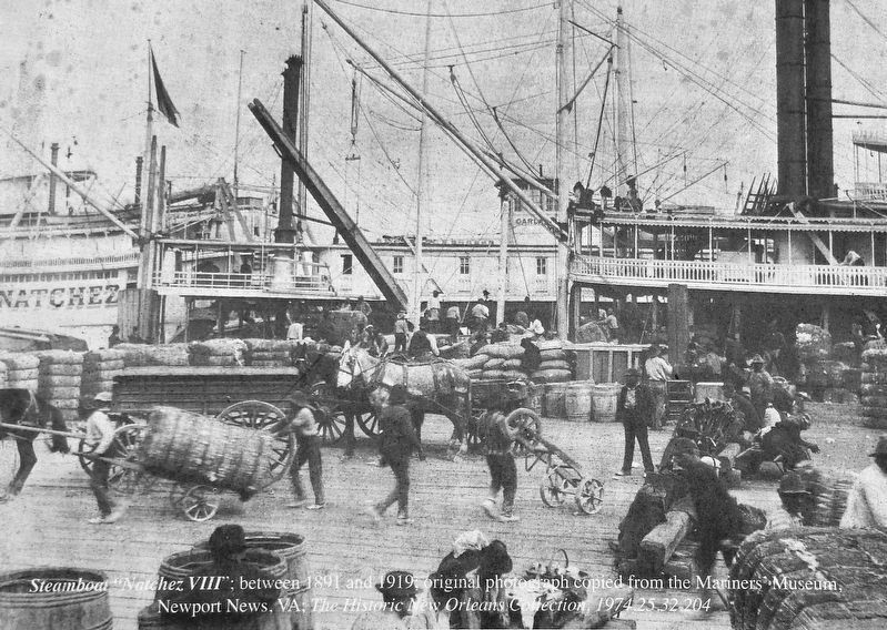Marker detail: Steamboat <i>Natchez VIII</i>;<br>between 1891 & 1919 image. Click for full size.