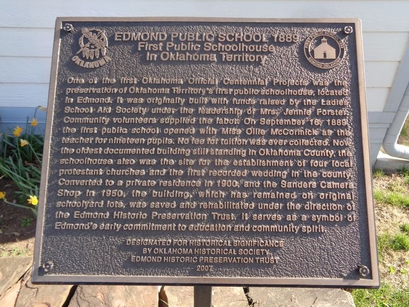 Edmond Public School 1889 Marker image. Click for full size.