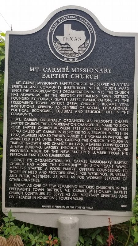 Mt. Carmel Missionary Baptist Church Marker image. Click for full size.