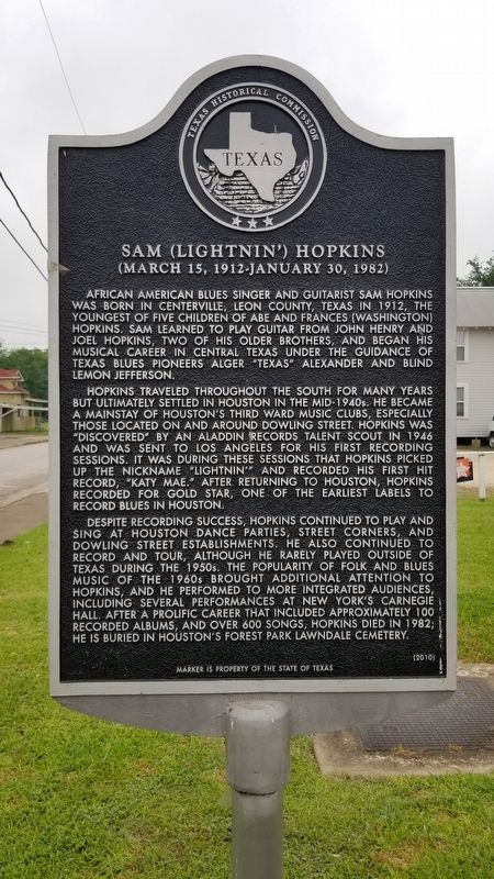 Sam (Lightnin') Hopkins Marker image. Click for full size.