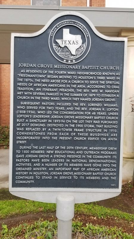 Jordan Grove Missionary Baptist Church Marker image. Click for full size.