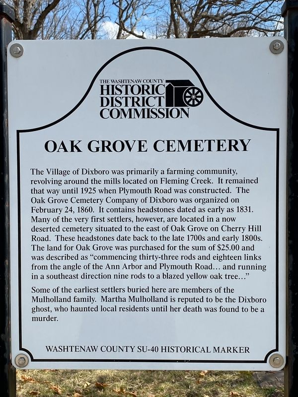 Oak Grove Cemetery Marker image. Click for full size.