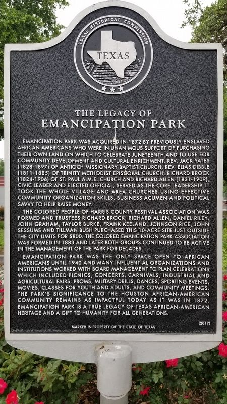 The Legacy of Emancipation Park Marker image. Click for full size.