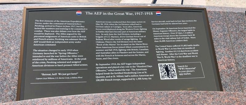 The AEF in the Great War, 1917-1918 Marker image. Click for full size.
