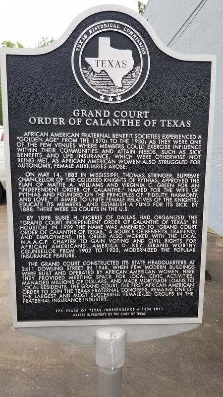 Grand Court Order of Calanthe of Texas Marker image. Click for full size.