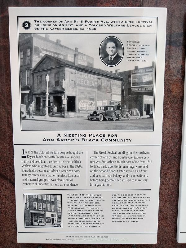A Meeting Place for Ann Arbor's Black Community Marker image. Click for full size.