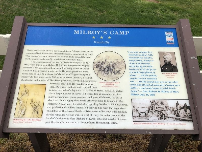 Milroy's Camp Marker image. Click for full size.