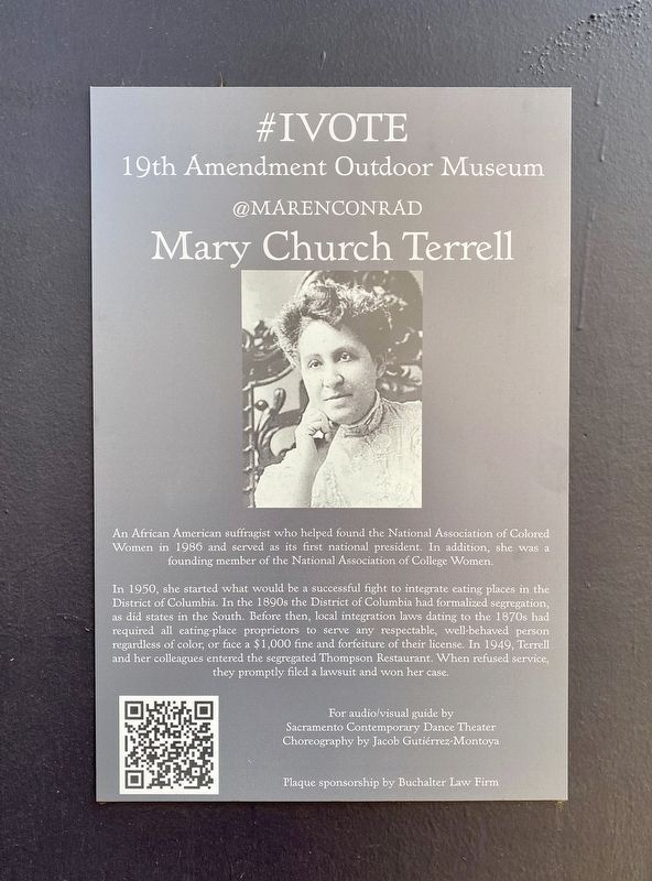 Mary Church Terrell Marker image. Click for full size.