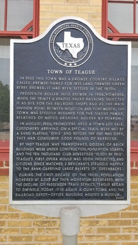 Town of Teague Marker image. Click for full size.