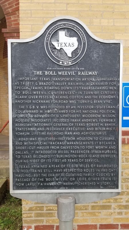 "The ""Boll Weevil"" Railway Marker image. Click for full size."
