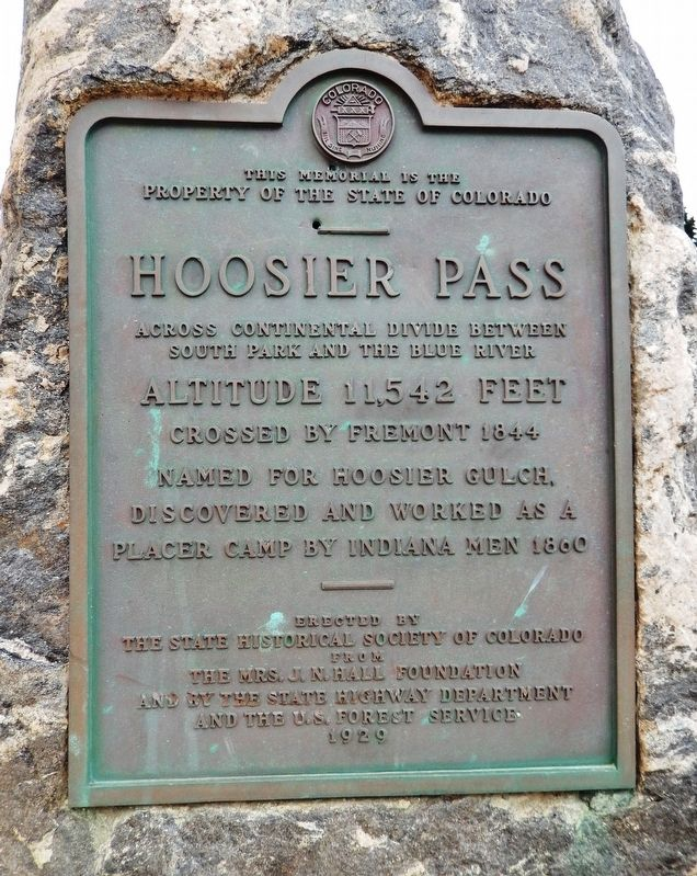 Hoosier Pass Marker image. Click for full size.