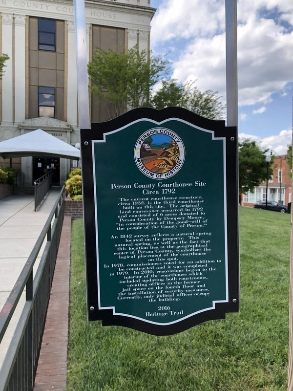 Person County Courthouse Site Marker image. Click for full size.
