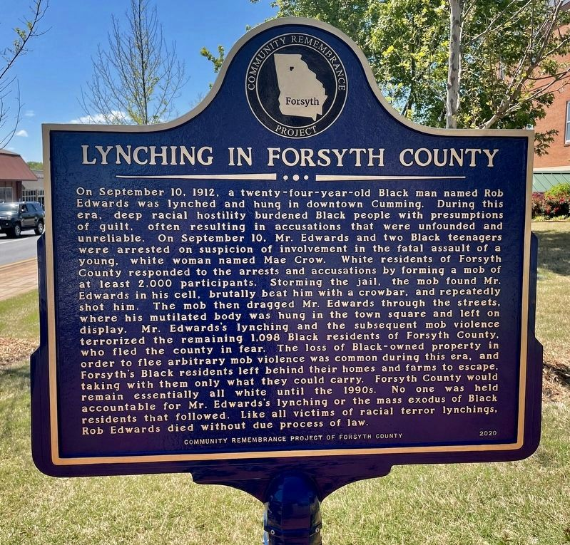 Lynching in Forsyth County Marker image. Click for full size.