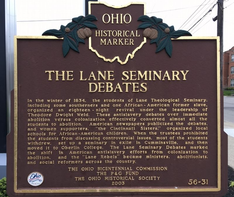 The Lane Seminary Debates Marker image. Click for full size.