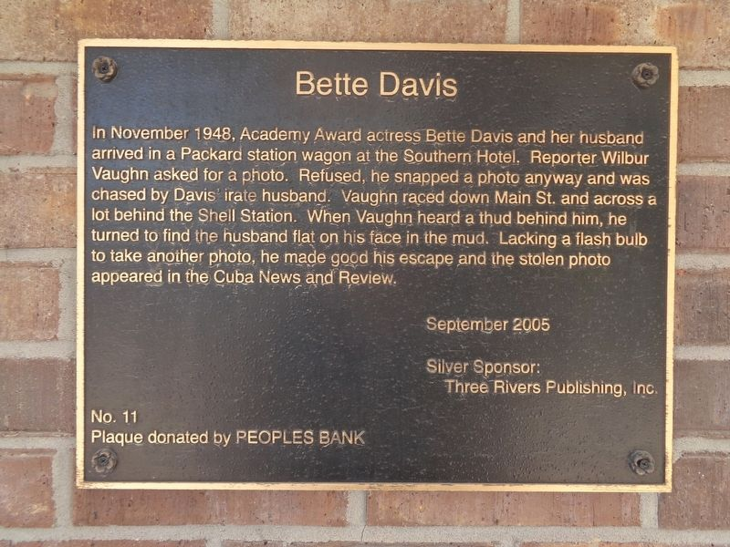 Bette Davis Marker image. Click for full size.