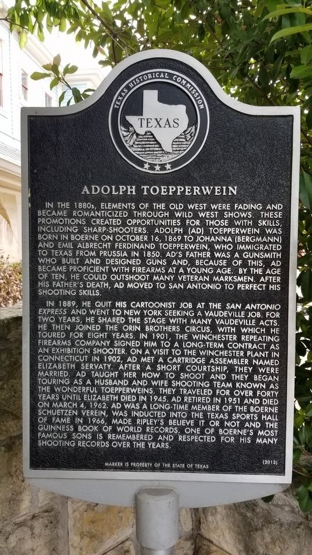 Adolph Toepperwein Marker image. Click for full size.