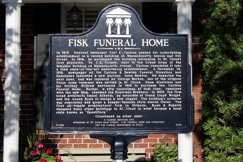 Fisk Funeral Home Marker Side 1 image. Click for full size.